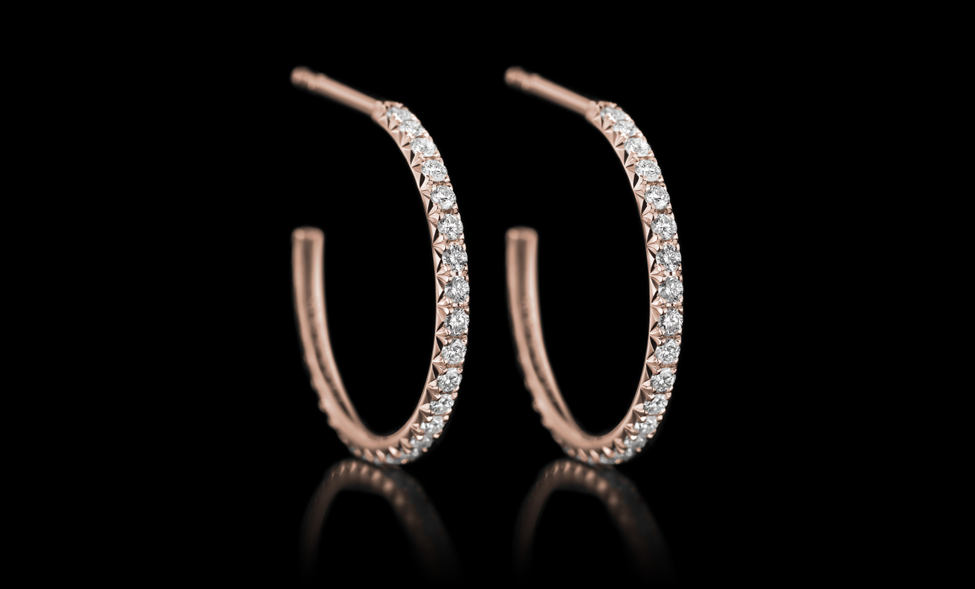Halo No.2 diamond earring rose