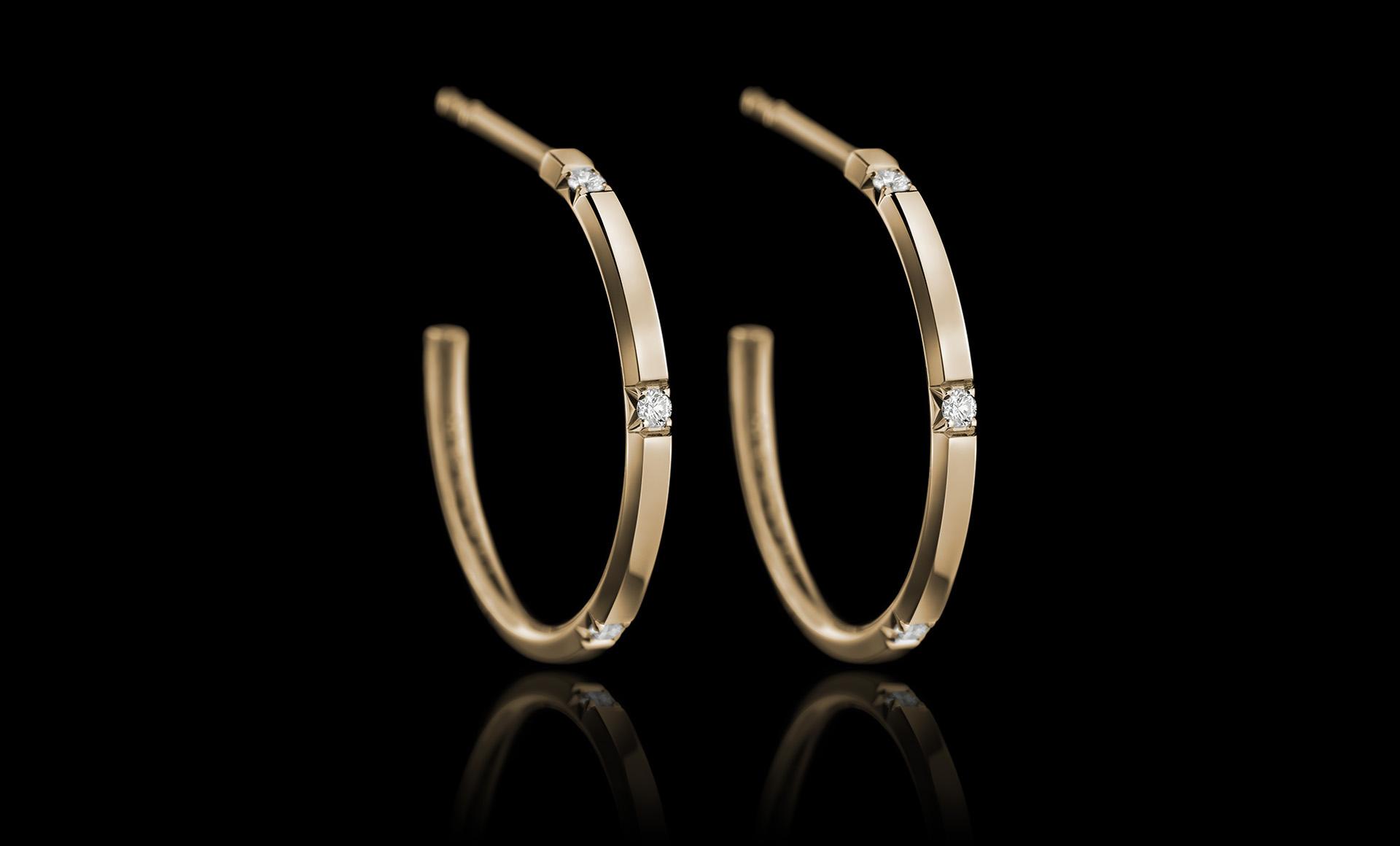 Halo No.4 diamond earring gold