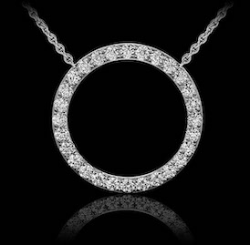 Montluc - Orbit No 1. Circle diamond pendant: set with a continuous line of perfectly selected, brilliant cut diamonds.