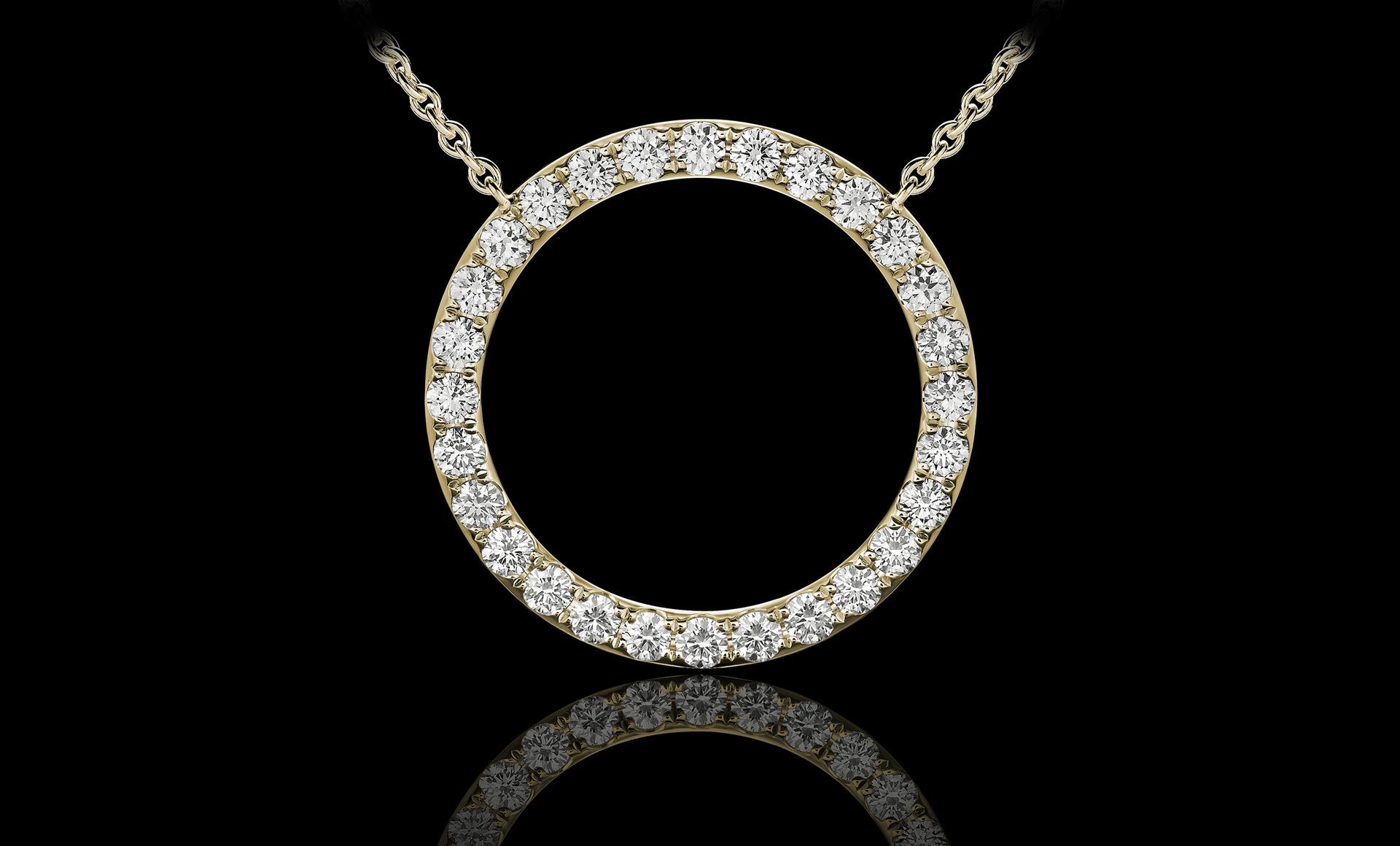 Orbit No.1 diamond pendant yellow gold
