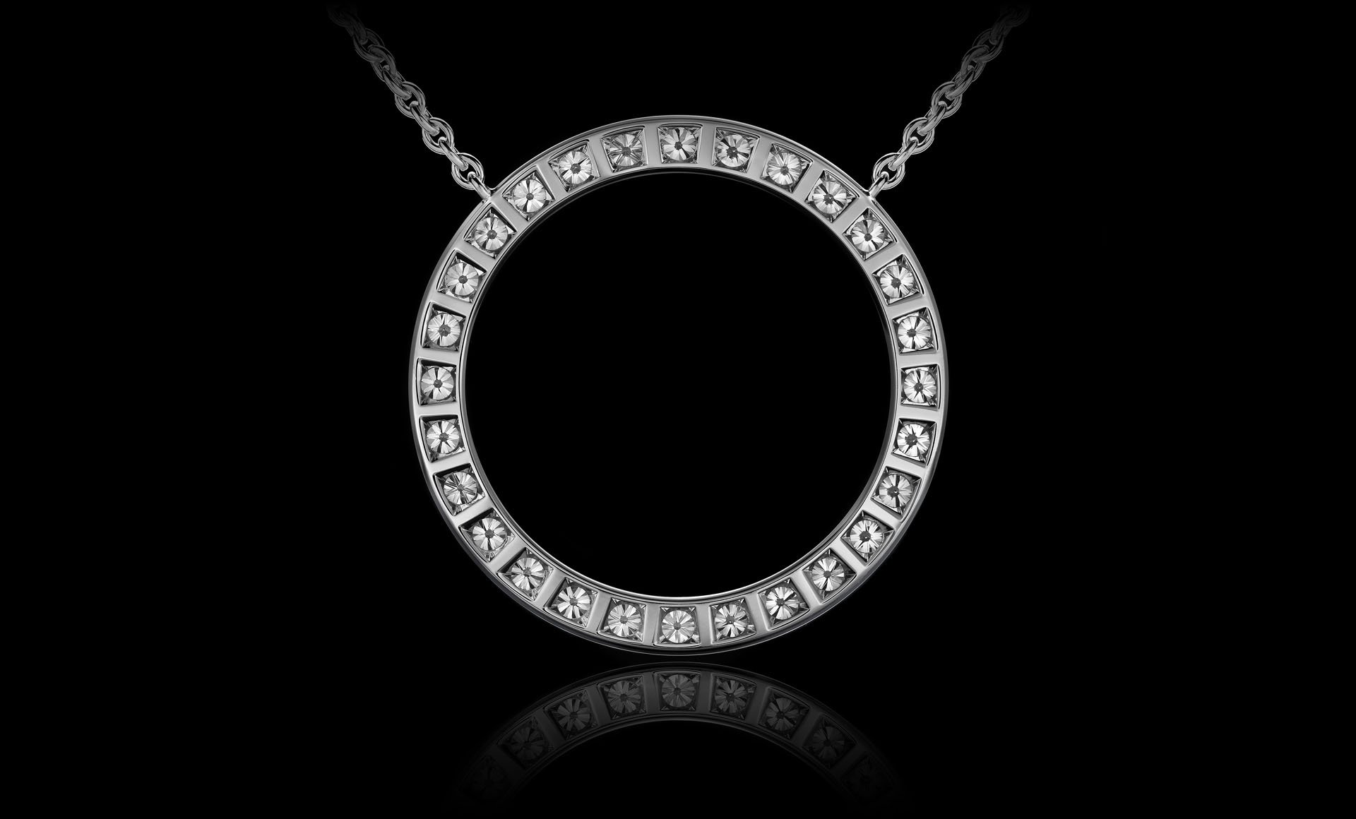 Montluc - Orbit No 1 diamond pendant, view from the back.