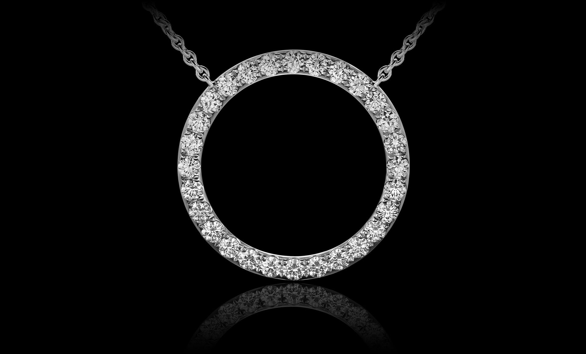 Montluc - Orbit No 1 diamond pendant: set with a continuous line of perfectly selected, round cut diamonds.