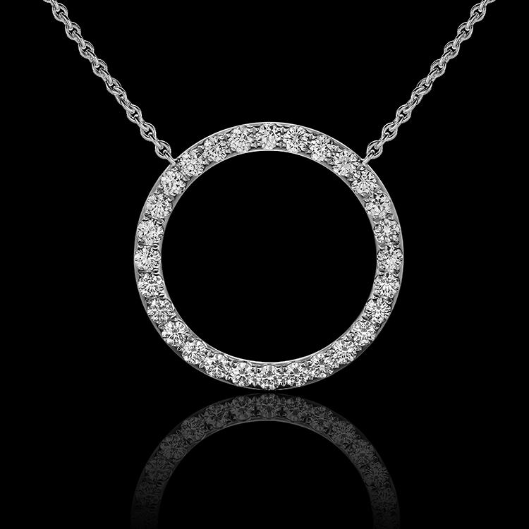 Montluc - The Orbit No 1 diamond pendant: set with a continuous line of perfectly selected, round cut diamonds.