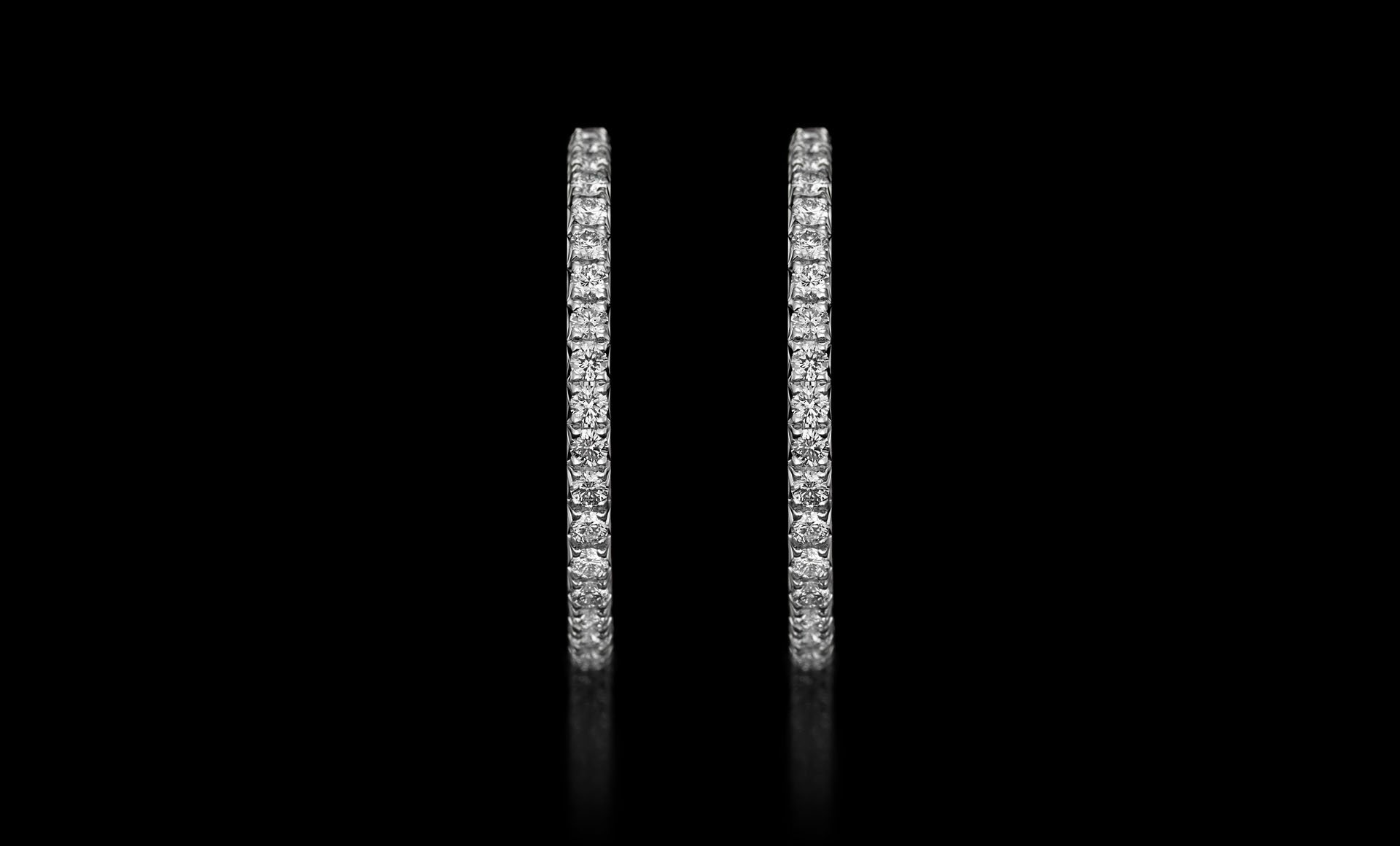 Montluc - Halo No 2 diamond hoop earrings seen from the front