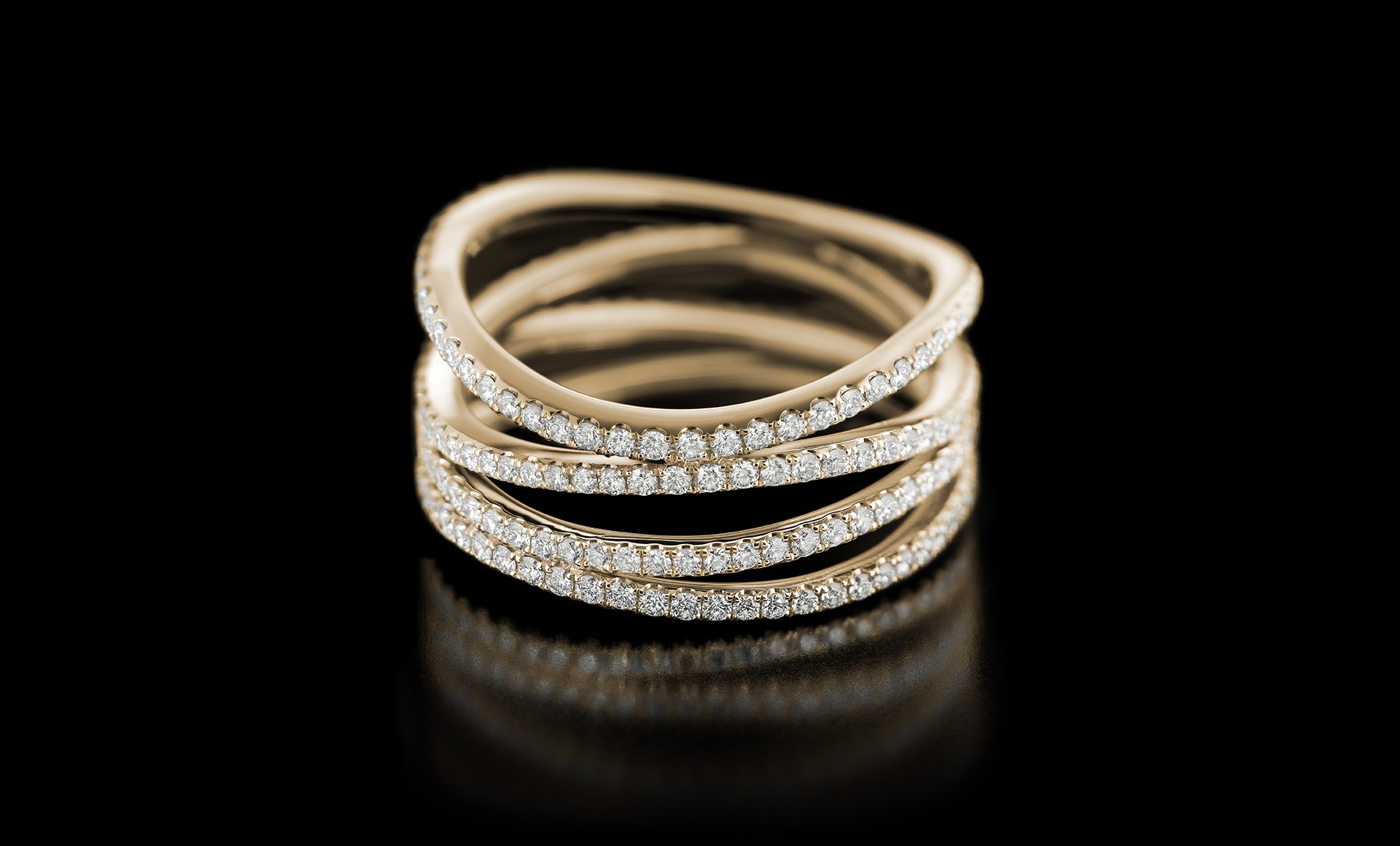 Spiral No.1 diamond ring yellow gold
