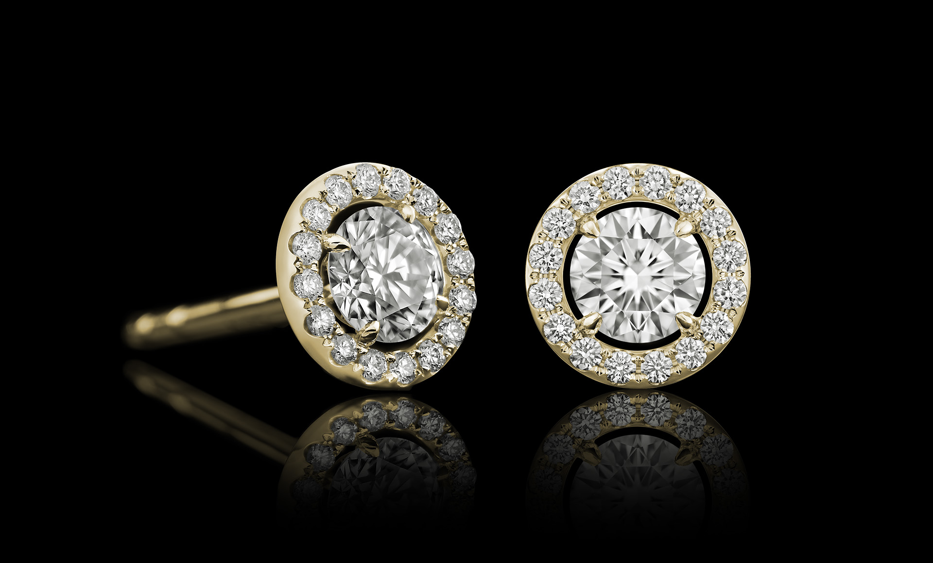 Orbit No.2 diamond studs yellow gold