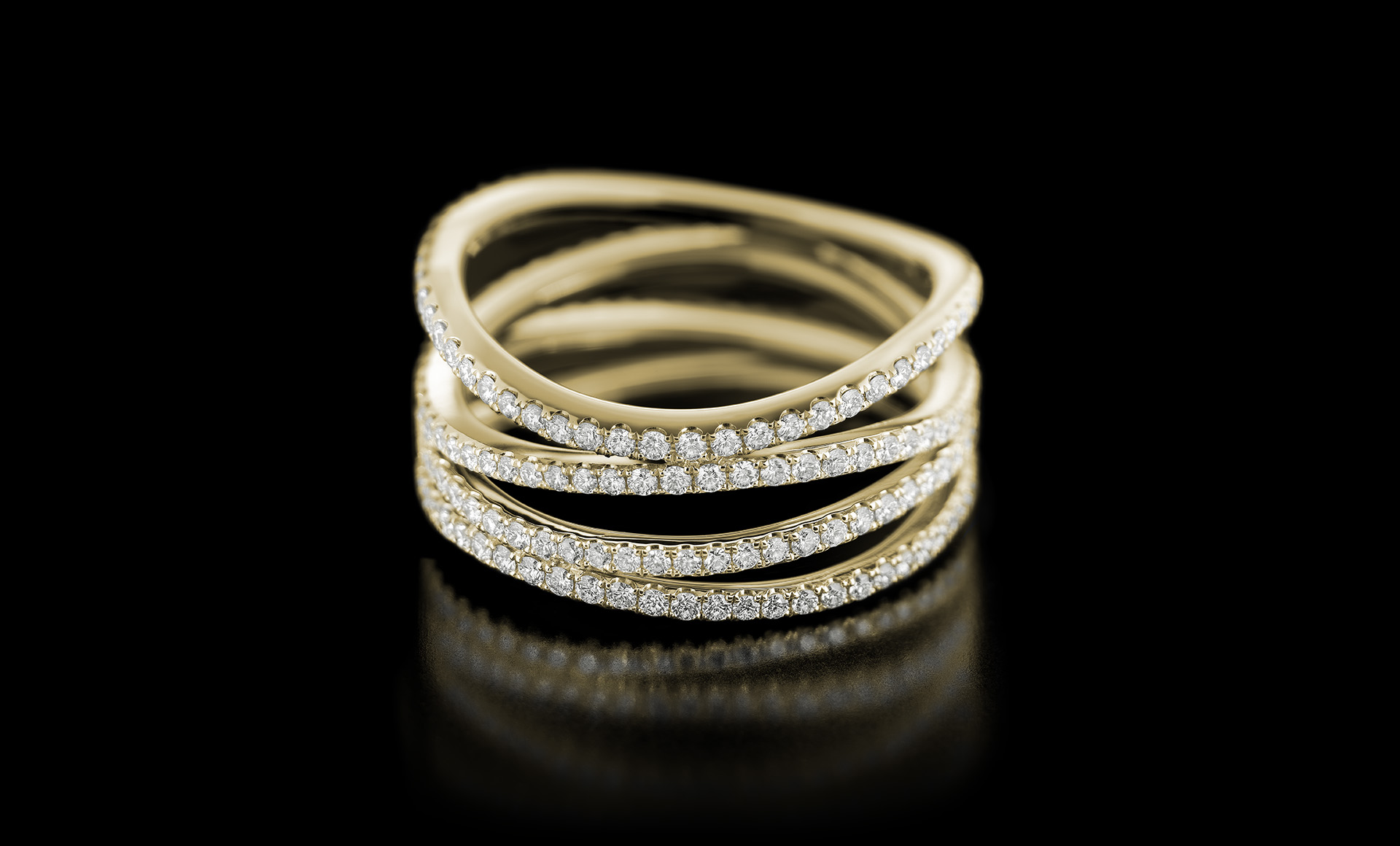 Spiral No.1 diamond ring yellow gold