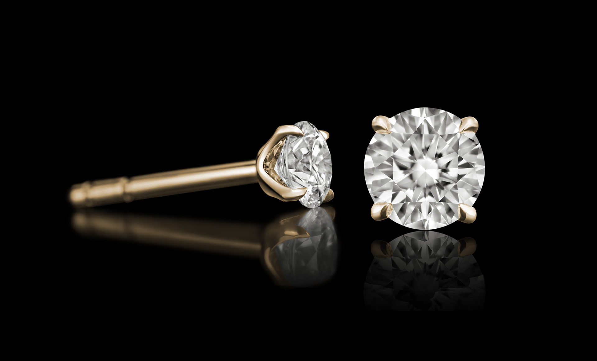 Quasar No.1 diamond earring gold
