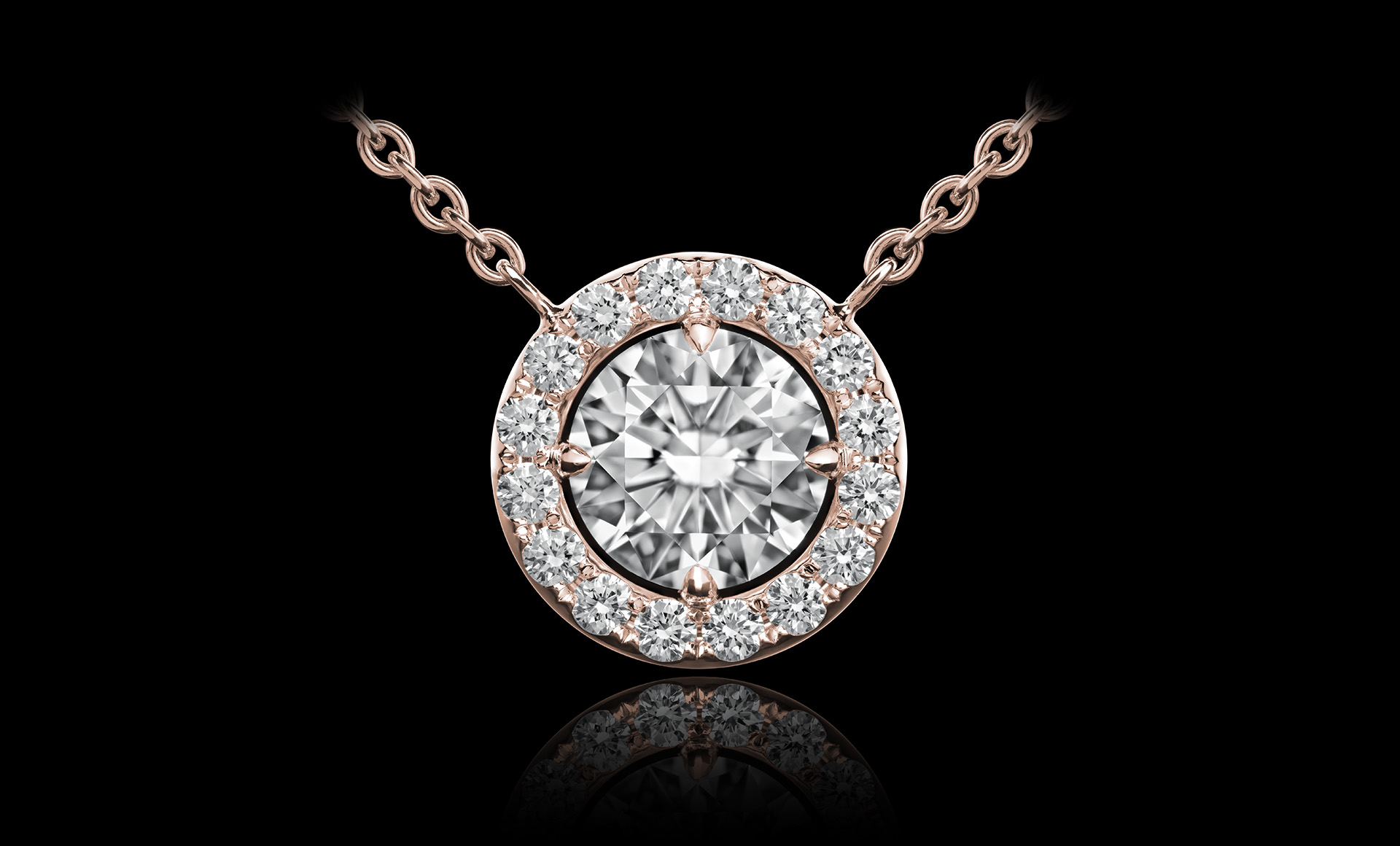 Orbit No.4 diamond pendant rose