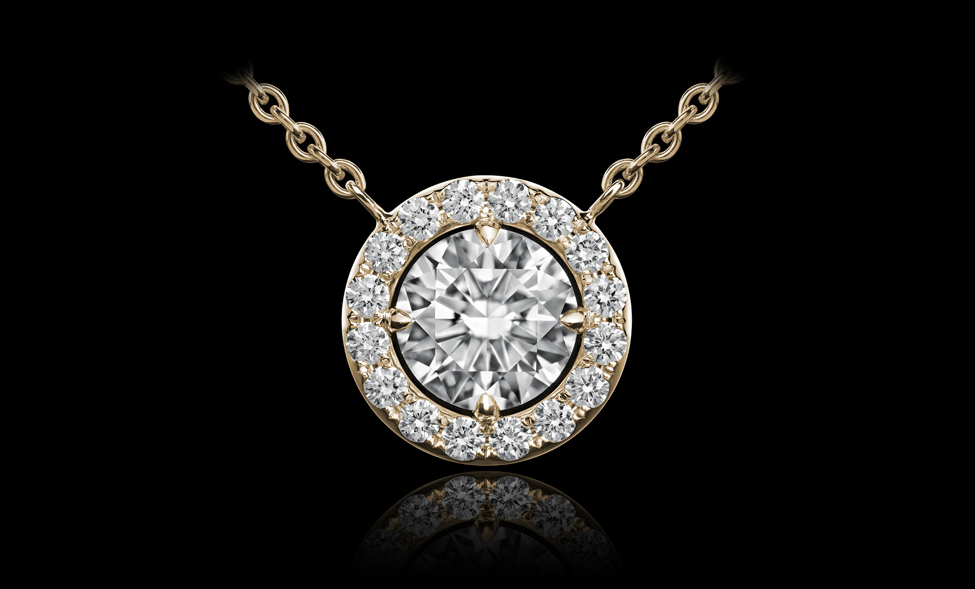 Orbit No.4 diamond pendant yellow gold