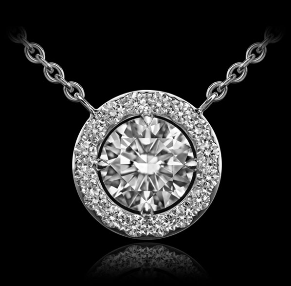 Orbit No.4 - Diamond pendant with centrepiece