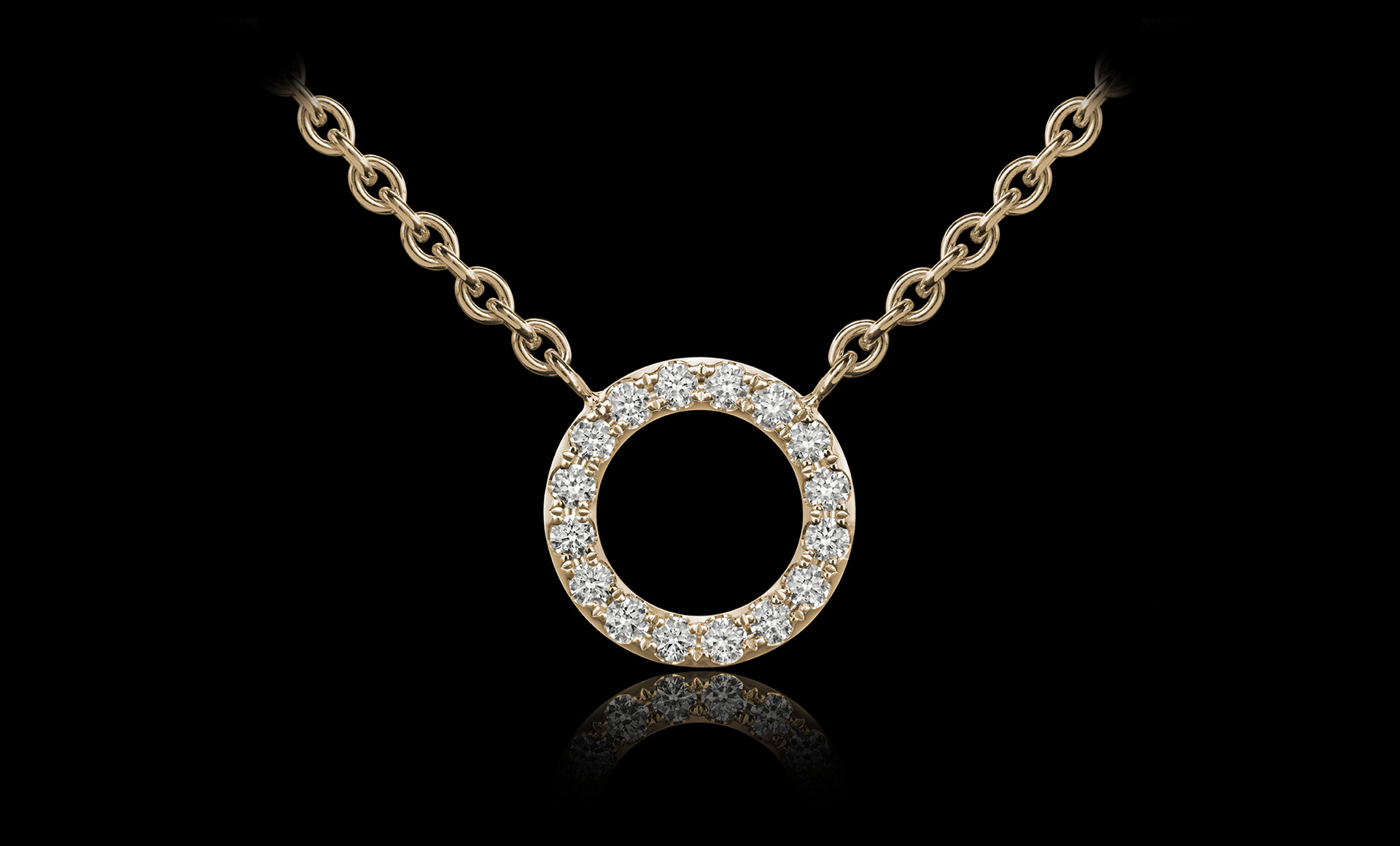 Orbit No.3 diamond pendant yellow gold
