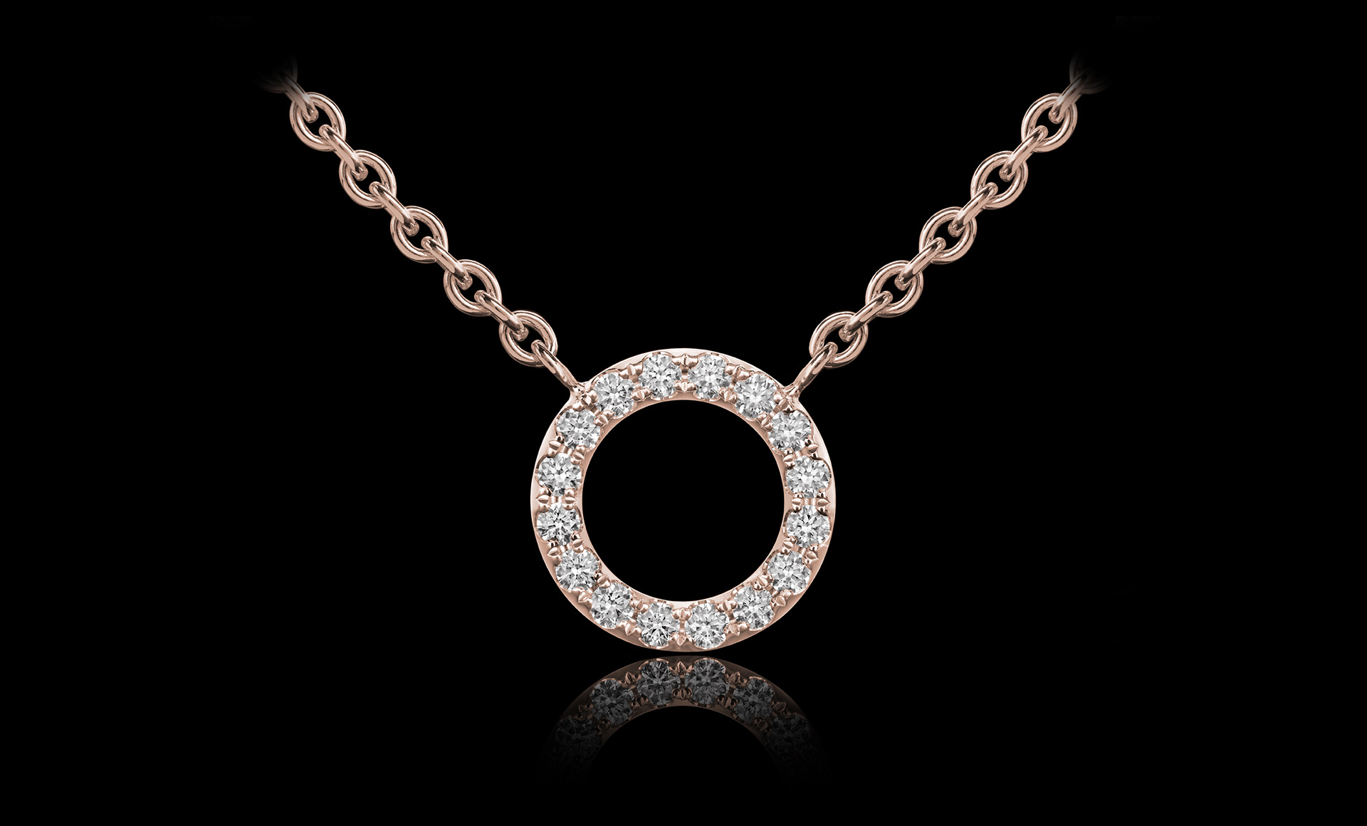 Orbit No.3 diamond pendant rose