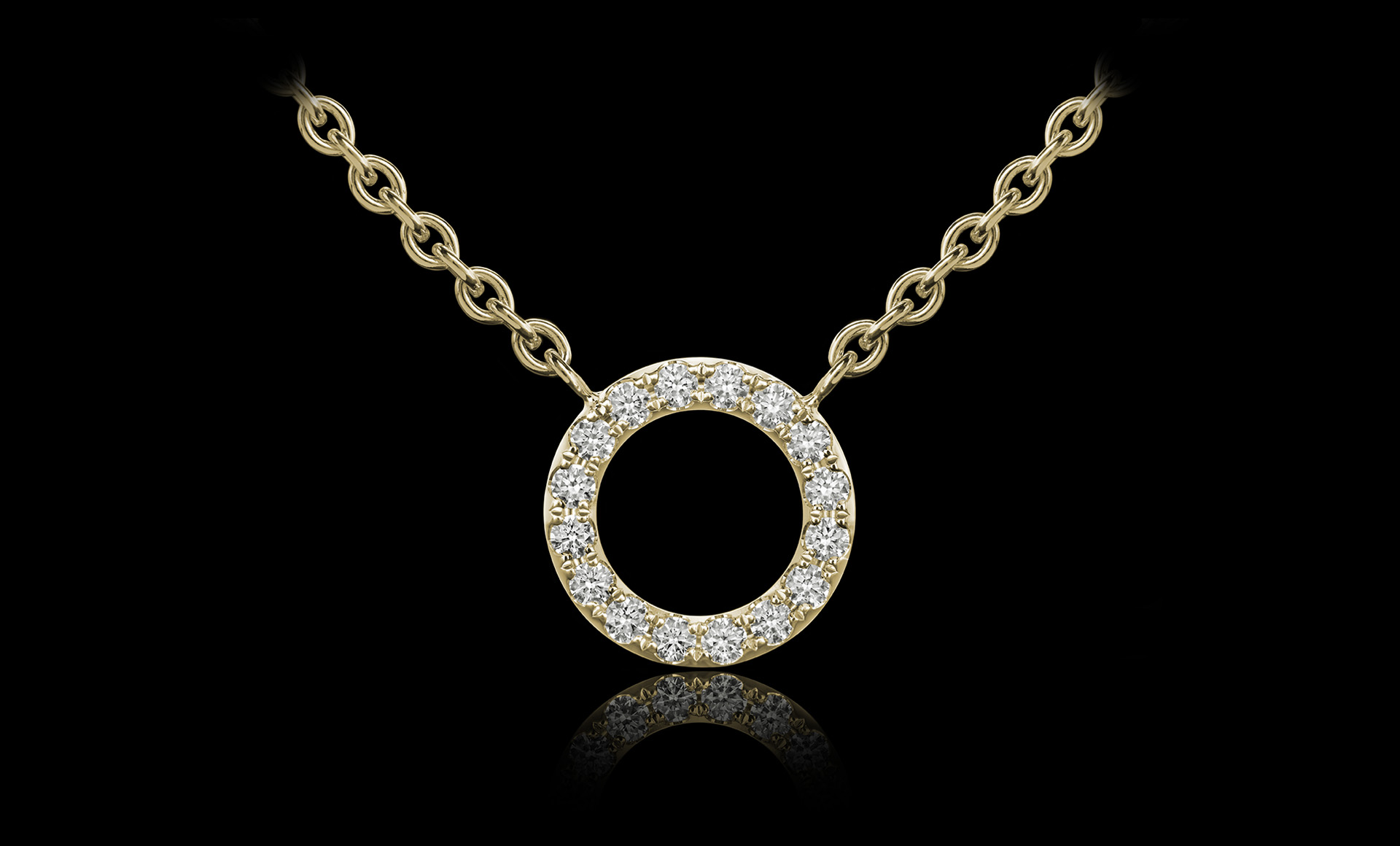Orbit No.3 diamond pendant yellow gold