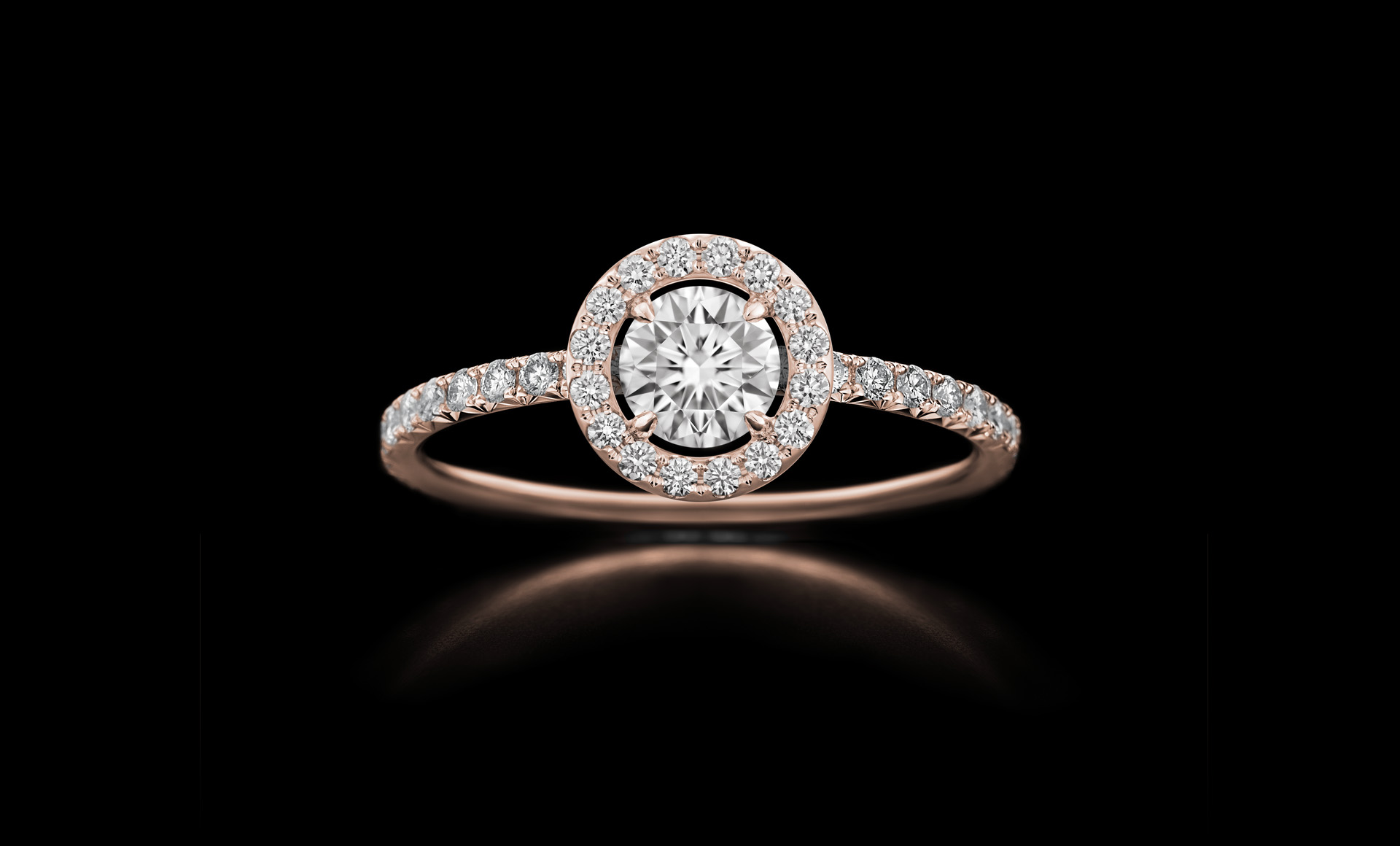 Orbit No.5 - diamond ring with centrestone rose gold