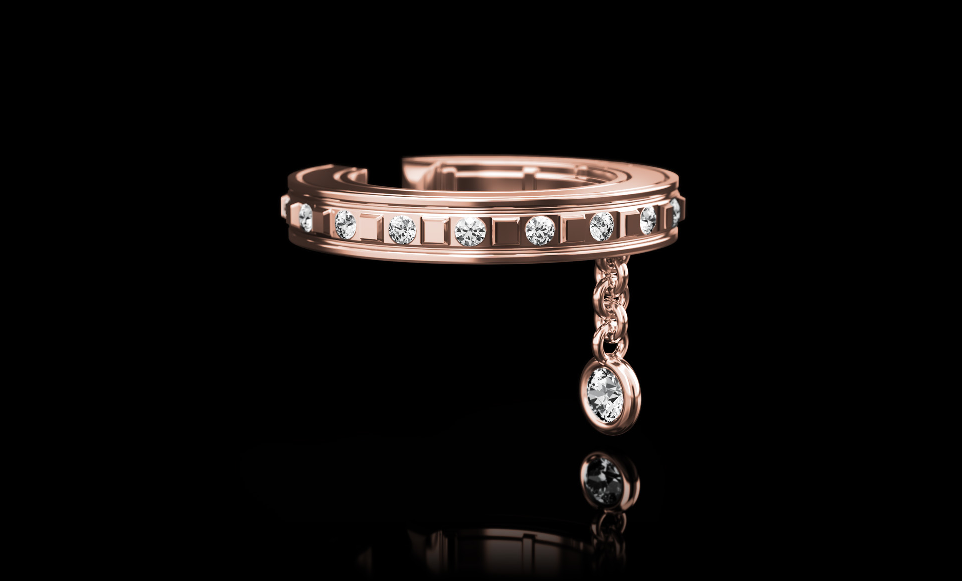 Montluc Diamond Earring Cuff No.2 Rose Gold