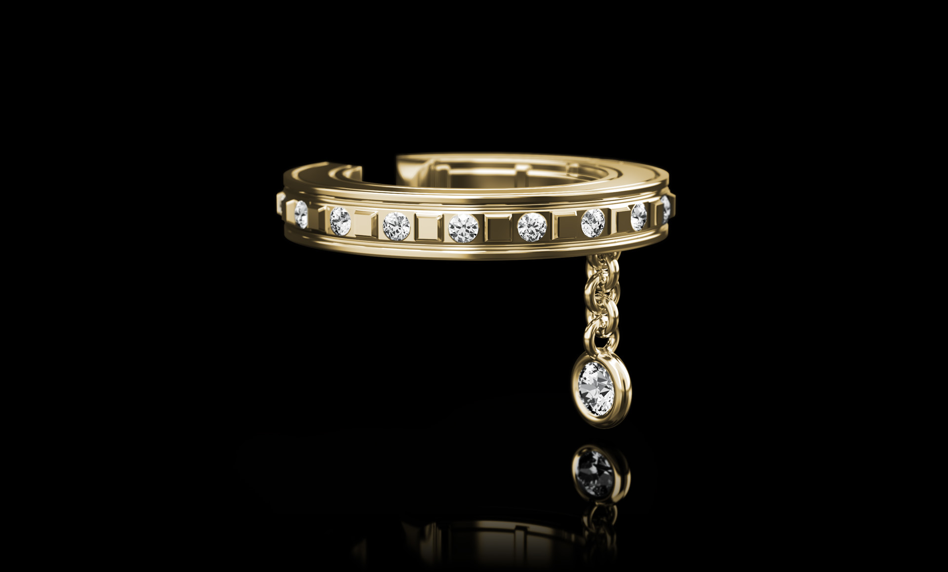 Montluc Diamond Earring Cuff No.2 Yellow Gold