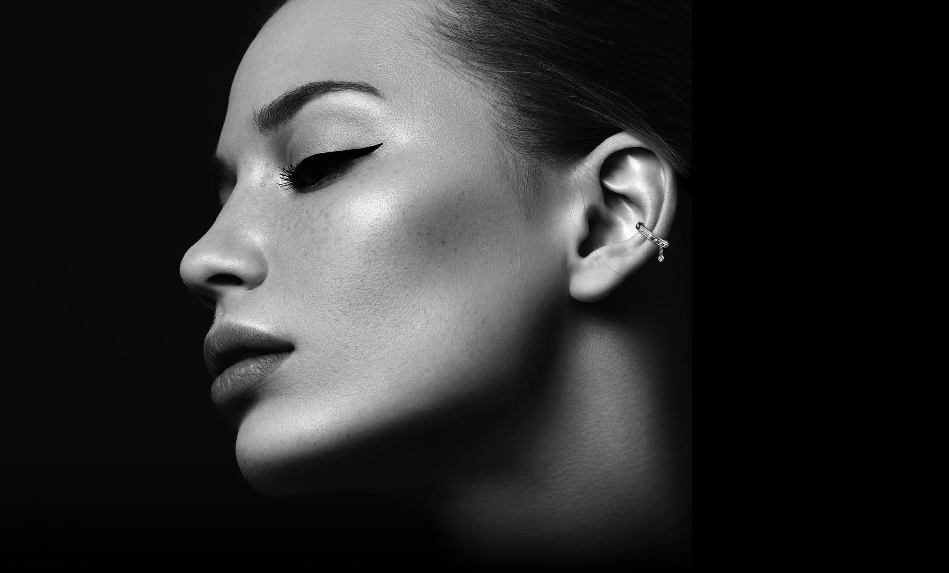 Montluc Diamond Earring Cuff No.2 on Model